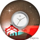 Deja vu watch, jewelry discs, acryl, printed, black-grey-colorful, L 1038