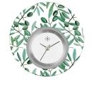 Deja vu watch, jewelry discs, acryl, printed, green-yellow, L 5006