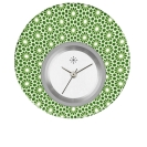 Deja vu watch, jewelry discs, acryl, printed, green-yellow, L 5060