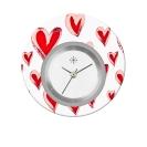 Deja vu watch, jewelry discs, acryl, printed, red-orange, L 9024